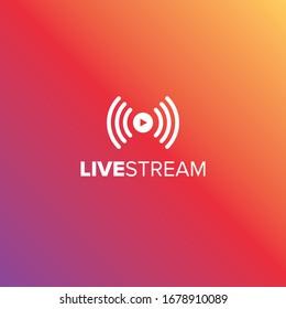 Livestream-Vektorillustration-Symbol für Video und Online