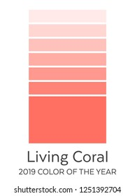 Living Coral Color Tints Swatches Guide. 2019 Color of the Year. Future Color Trend Forecast. Palette Sample.