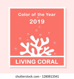 Living Coral color of the year 2019. Living Coral swatch. Color trend palette. Vector illustration with coral for banners, poster, advertising, blog and social media posts. Vector mockup.