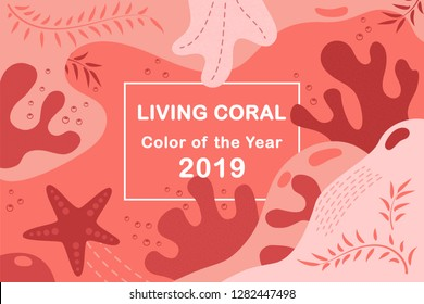 Living Coral color of the year 2019. Living Coral swatch. Color trend palette. Vector illustration design for banners, poster, cards, advertising, blog and social media posts. Abstract background