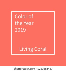 Living Coral color of the year. Color trend palette. Swatch Living coral. Vector illustration design for advertising, blog posts, flyers, banners, poster, cards. Vector mockup