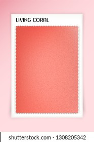 Living coral fabric sample. Color of the year 2019. Vector textile swatch mockup
