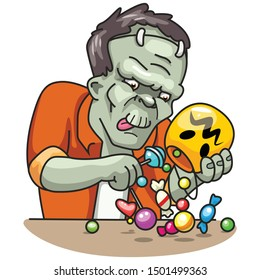 The Living Dead eats candy. Halloween monster. Vector illustration in cartoon style.