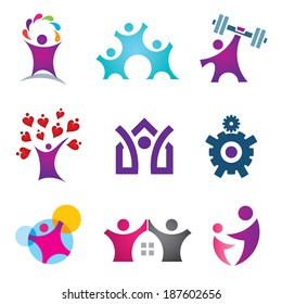 Living the great life happy social people logo icon set