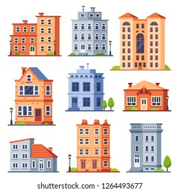 Living house buildings. Cottage houses exterior, condominium apartment building and modern cottages exteriors. Town cottage residential houses modern flat vector isolated icons set