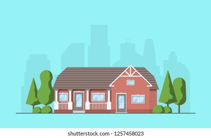 Living house with trees and bushes. Cottage in the flat style. Real estate concept. Neighborhood with cityscape background. Vector illustration.