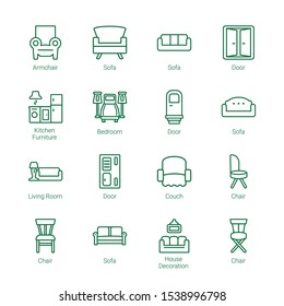 living icons. Editable 16 living icons. Included icons such as Armchair, Sofa, Door, Kitchen furniture, Bedroom, sofa, Living room, Couch, Chair. trendy icons for web.