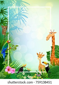 living in the jungle animal and green summer backgrounds illustration vectors.