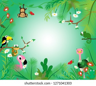 Living in the jungle. Cute african birds. Vector illustration.
