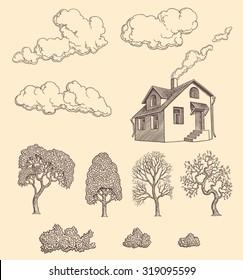Living outside the city limits. Design set. Hand drawn engraving. Vector vintage illustration. 8 EPS
