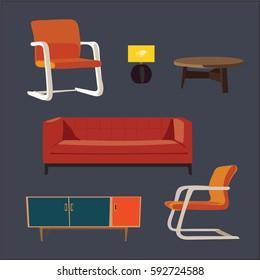 living room 1970s furniture set