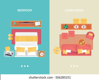 Living room and bedroom floor plan top view. Furniture set for interior design. Isolated vector illustration
