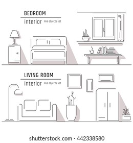 Living room and bedroom interior design elements - sofa, armchair, bookcase, table, lamps. Line art vector illustration.
