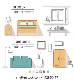 Living room and bedroom interior design elements - sofa, armchair, bookcase, table, lamps. Line art vector illustration. Colored objects set.