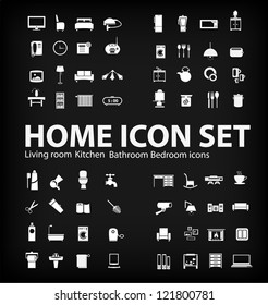 living room , bedroom , kitchen, bathroom  equipment set  (vector)
