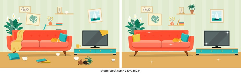 Living room before and after cleaning. Flat style vector illustration
