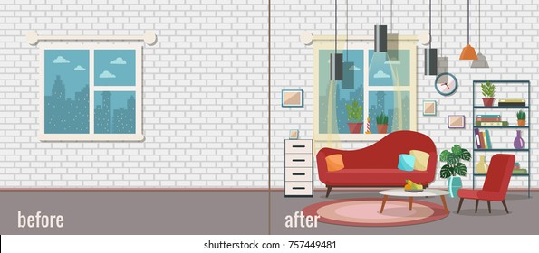 Living room before and after furnishing. Vector illustration. Flat design.