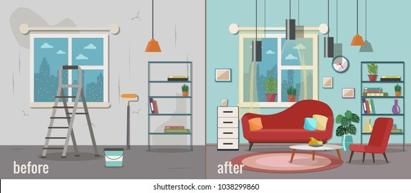 Living room before and after repair. Home interior renovation. Vector flat illustration.