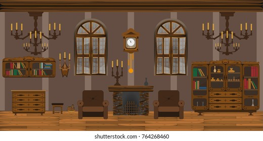 Living room with chandelier, furniture, fireplace and windows in antique style