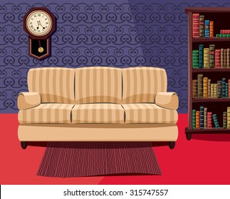 Living room with couch and library. Interior hotel room. Simple vector illustration.