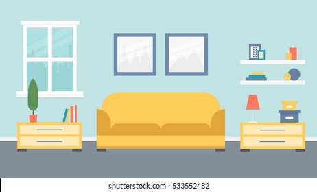 Living room design. Vector illustration