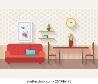 Living room and dining room with furniture and long shadows. Flat style vector illustration.