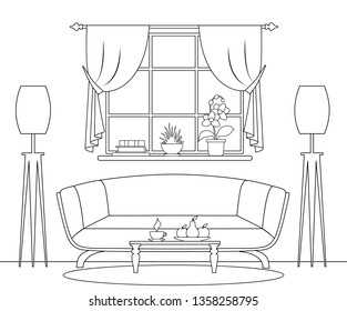 Living room drawn in thin lines. Vector interior with a sofa by the window in the outline style.