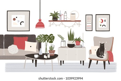 Living room full of cozy furniture and home decorations - sofa, armchair, coffee table, shelf, wall pictures, potted plants. Apartment furnished in modern Scandinavian style. Flat vector illustration.