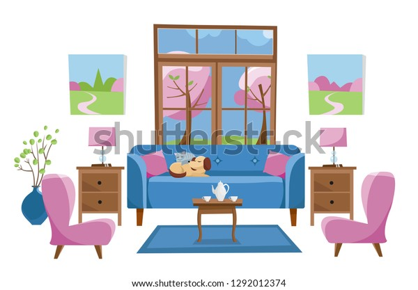 Living Room Furniture Bright Colors On Stock Vector Royalty Free 1292012374