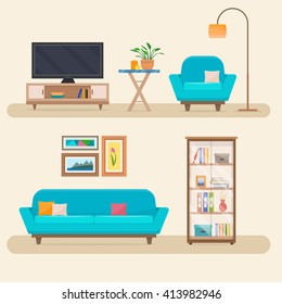 Living room with furniture. Cozy interior with sofa and tv.  Flat style vector illustration.