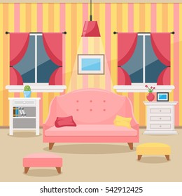 Living room with furniture. Cozy interior With sofa, windows and vase of flowers. Flat style vector