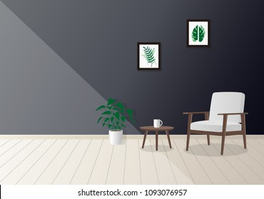 Living room. Furniture design. Interior.