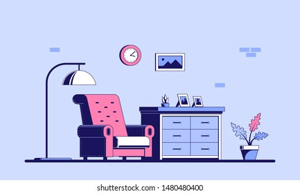 Living room with furniture. Flat style illustration of a living room interior. Banner design.