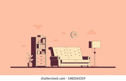 Living room with furniture. Flat style interior illustration. Banner design.