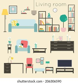 Living room. Furniture and Home Accessories, including sofas, love seat, armchairs, coffee table  and home decoration