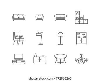 Living room furniture, interior line icons set with sofa, armchair, bookcase, lamp, tv stand, table, chandelier.