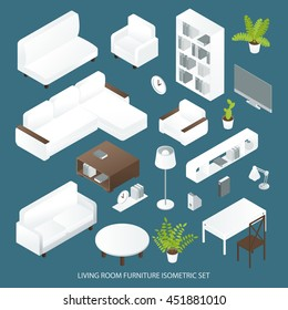Living room furniture isometric set with sofas bookcase tables lamps tv on blue background isolated vector illustration