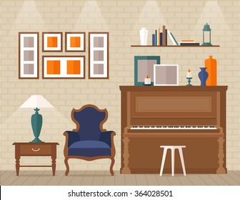 Living room with furniture and piano. Flat style vector illustration.