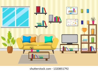 The Living Room With Furniture. There Are Many Things Such As Books  ,cabinet,