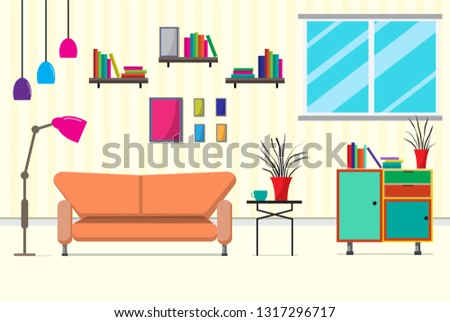 Elegant The Living Room With Furniture. There Are Many Things Such As Books  ,cabinet,