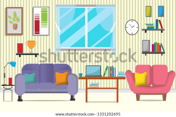 Living Room Furniturethere Many Things Such Stock Vektorgrafik