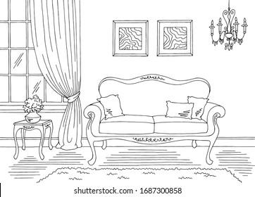 Living room graphic black white classic home interior sketch illustration vector