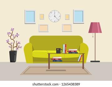 Living room home big set vector illustration modern flat