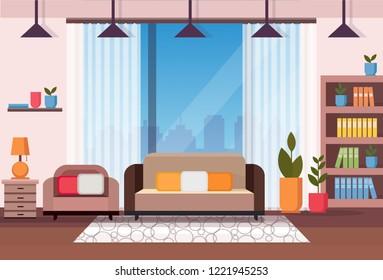 living room home interior apartment decoration concept flat horizontal vector illustration
