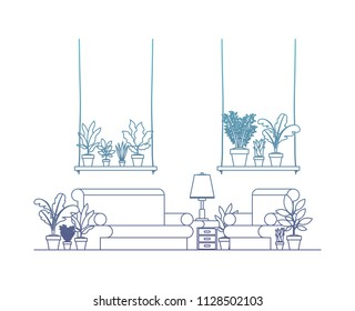 living room with houseplants scene