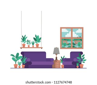 living room with houseplants and window