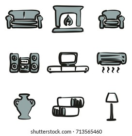 Living Room Icons Freehand 2 Color