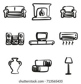Living Room Icons Freehand