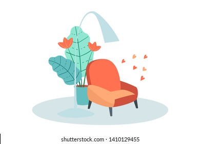 Living room interior with armchair lampshade and flowerpot. Vector flat cartoon furniture domestic relax lounge design. Flat style illustration.