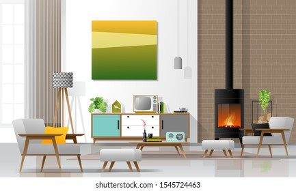 Living room interior background with fireplace and furniture in modern retro style , vector , illustration